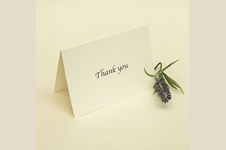 A6 Standing Thank You Card with Cream Paper